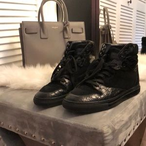 Balenciaga hightop leather and suede